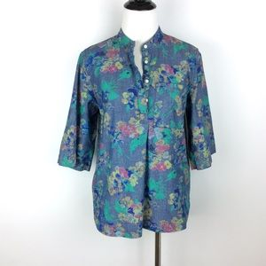GAP Chambray Floral Linen Button Up Top Size S